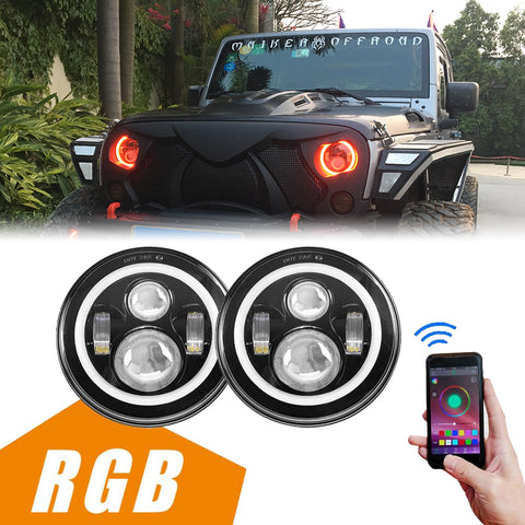 "MAIKER 7"" LED Headlights with RGB Angel Eye Halo for Jeep Wrangler 1997-2017 JK TJ LJ 7"" Round DRL Headlamp With Cell Phone APP Bluetooth Remote Control"