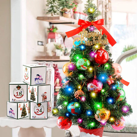 MAIKER 2FT Artificial Surprise Christmas Tree, Xmas Blind Box, Christmas Countdown Calendar, Christmas Toys for Child, Christmas Indoor Tabletop Decorations w/LED String Lights & Pine Cones