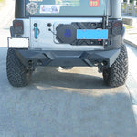 Guangzhou offroad design black steel rear bumper with logo for Jeep wrangler 07+