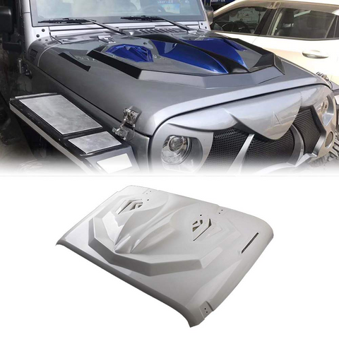 MAIKER Hood for Jeep Wrangler, the Cobra Style Fiberglass Hood Heat Dispersion for Jeep Wrangler JK JKU Unlimited Rubicon 2007-2017, White