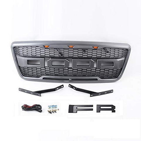 MAIKER Grille with LED Light for Ford F-150 2004-2008 with F & R Letters