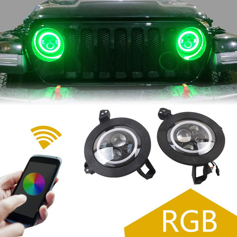 MAIKER Jeep LED RGB Color Halo Ring Headlights with Mounting Bracket for Jeep Wrangler 2018 JL Front Bumper Lamp Driving Lights with Cell Phone APP Bluetooth Control (1 Pair)