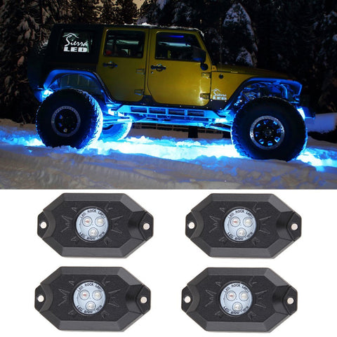 MAIKER RGB LED Rock Light Kits with Phone App Control & Cell Phone Control & Timing & Music Mode & Flashing & Automatic Control & Color Grad Multicolor Neon Lights Under Off Road Truck SUV ATV Motorcy