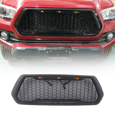 MAIKER Replacement ABS Upper Grille Fits for Tacoma 2016-2017(with LED Lights)
