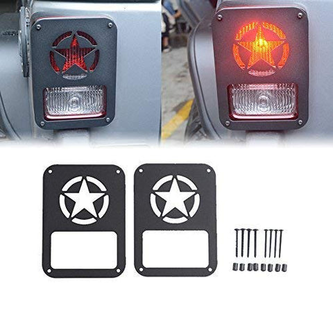MAIKER Rear Taillights Cover Freedom Edition Star Tail Light Guards Cover for 2007-2017 Jeep Wrangler Unlimited JK