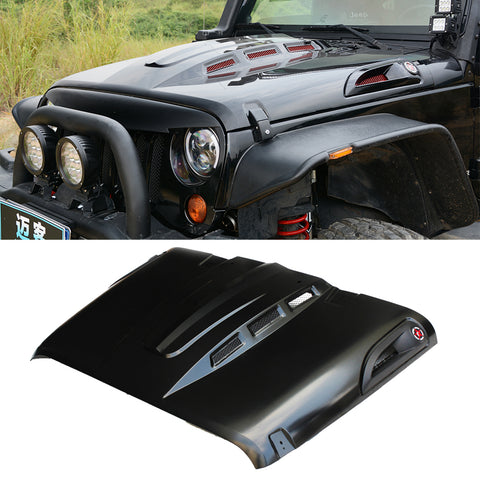 MAIKER The Avenger Style Hood Fits for 2007-2017 Jeep Wrangler JK JKU Unlimited Rubicon