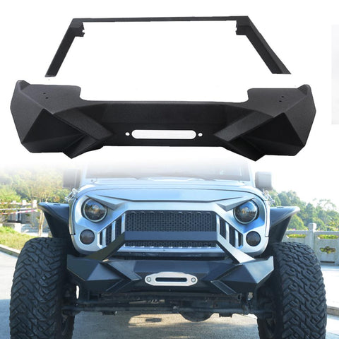 MAIKER Front Bumper w/Winch Plate for 2007-2017 Jeep Wrangler JK Black Textured