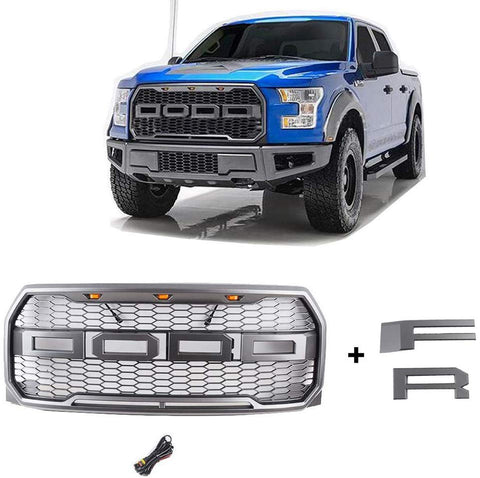 MAIKER Front Grille with LED Light for Ford Raptor F-150 2015-2017 with F&R Letters