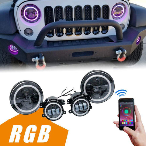 "MAIKER 7"" LED RGB Headlights with Halo Angel Eyes DRL + 4"" LED Fog Lights Combo Kit for Jeep Wrangler 1997-2017 JK JKU TJ LJ"