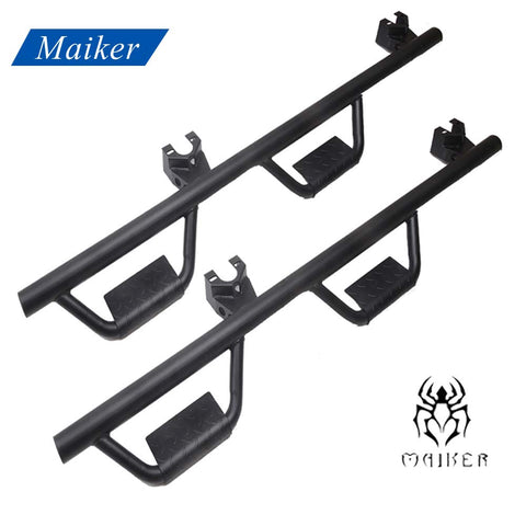 Maiker Side Steps Kit for 2007-2017 Jeep Wrangler JK 4-Door Hoop Drop Side Running Boards/Bar, Textured Black