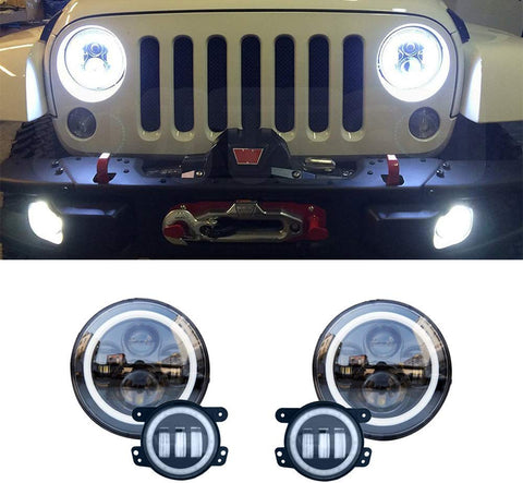 MAIKER 7inch LED Headlights with Amber Turn Signal + 4 inch LED Fog Lights with White DRL Halo Ring for Jeep Wrangler 1997-2017 TJ LJ JK JKU