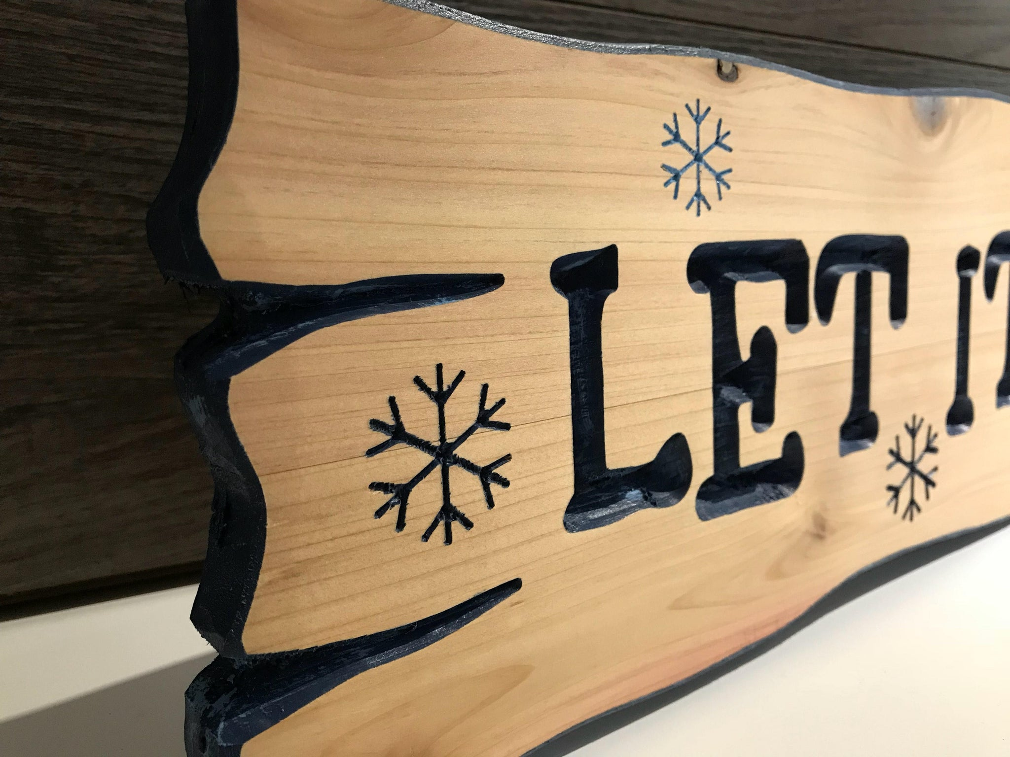 Let It Snow Carved Wood Sign Signs Christmas Decorations