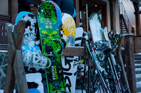 Snowboards and gear.