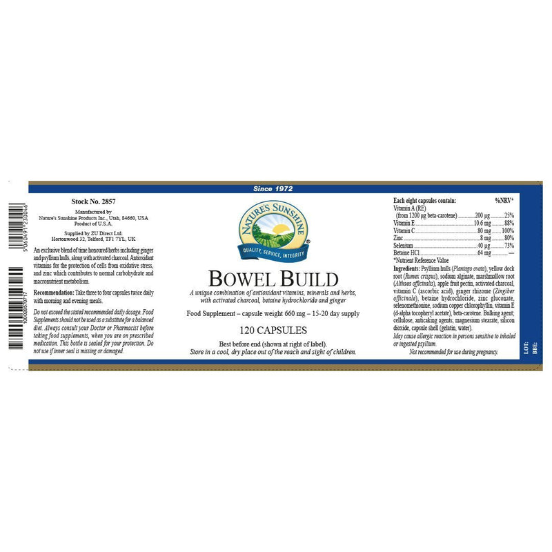 Nature's Sunshine Bowel Build (120 capsules)
