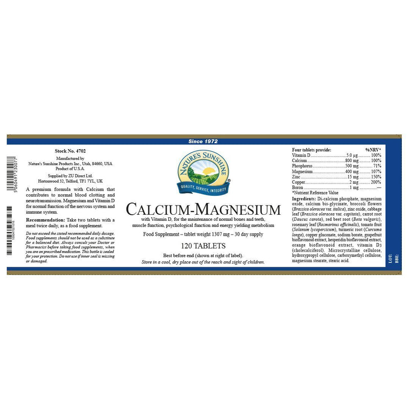 Nature's Sunshine Calcium-Magnesium (120 tablets)