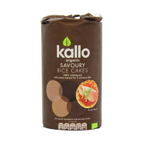 Kallo Foods Savoury Rice Cakes Gluten Free Low in Fat 110g 12 Pack