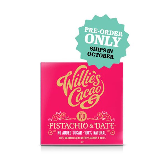 Willie's Cacao Organic Pistachio & Date 100% 50G x 12
