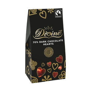 Divine Chocolate Fair Trade 70% Dark Chocolate Hearts x 12 pack