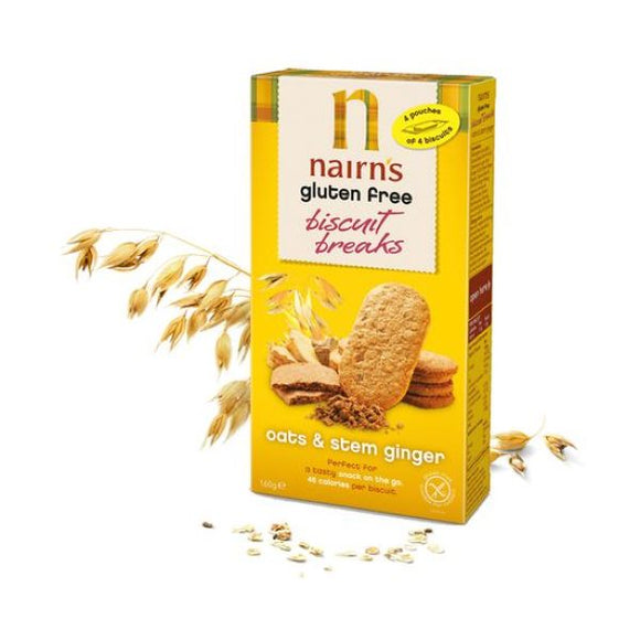 Nairn'S Oatcakes Gluten Free Biscuits Breaks Oats & Stem Ginger 160g