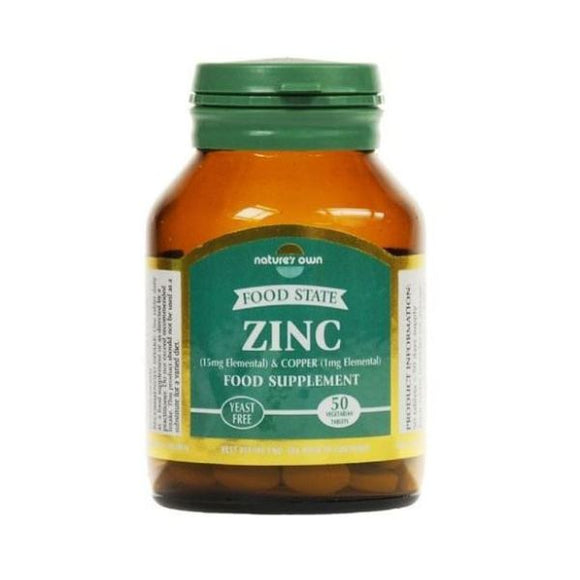 Natures Own Food State Zinc/Copper 15mg/1mg 50tabs