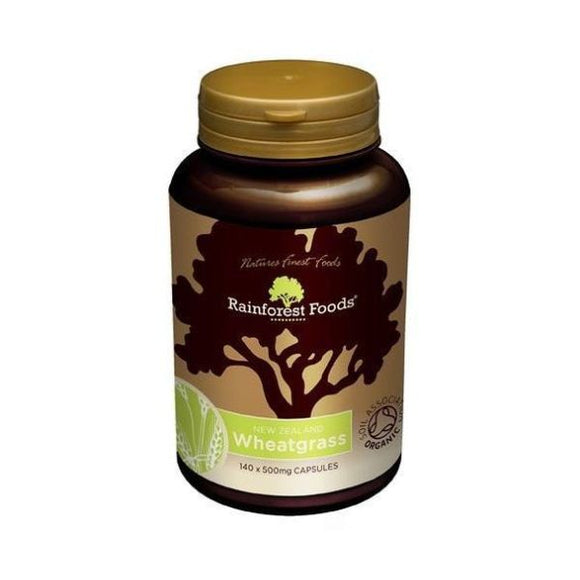 Rainforest Foods Organic New Zealand Wheatgrass Capsules 500mg 140caps