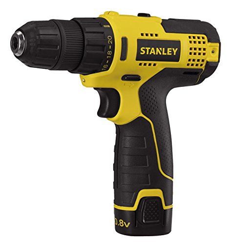 Stanley SCD12S1 10.8-Volt Li-Ion Compact Drill, 2 Batteries with Kitbox, Yellow and Black