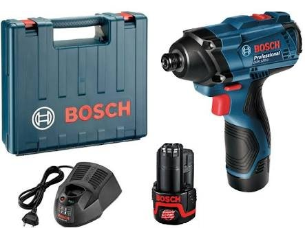 Bosch GDR 120 LI Cordless Impact Driver with Double Battery (Blue, 3-Piece)