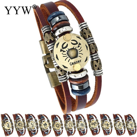 2018 Fashion Leather lion Casual Zodiac Signs Bracelet