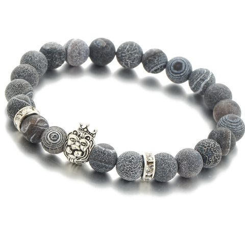 Silver Color Lion With Crown Charm Unisex Bracelet