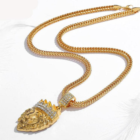 Rhinestone Crown Lion Head Necklace