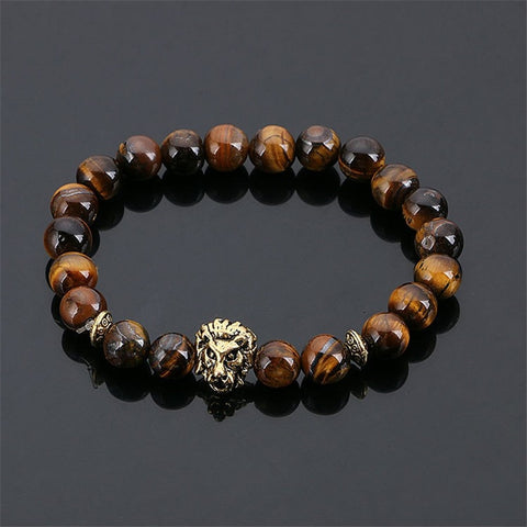 Lion Head Black Lava Stone Beaded Unisex Bracelet