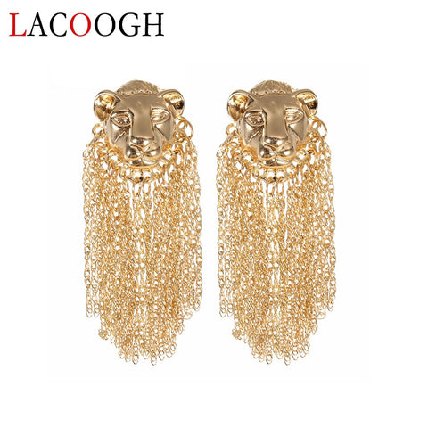 Fashion Lion Head Earrings Alloy Gold Color Tassel Earring Female