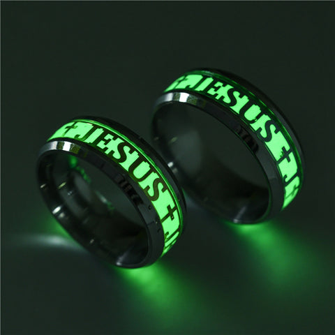 Stainless Steel Cross Ring Glow In The Dark Jewelry Unisex Ring