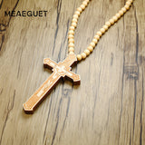 Wooden Jesus Cross With Wooden Bead  Long Collier