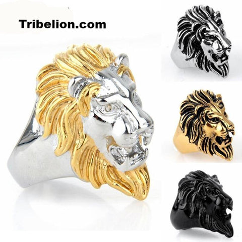 Stainless Steel Silver&Gold Color Lion Head Ring