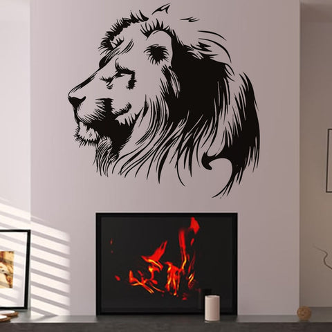 Vinyl Art Wall Decal Black Head Of Lion Home Decor