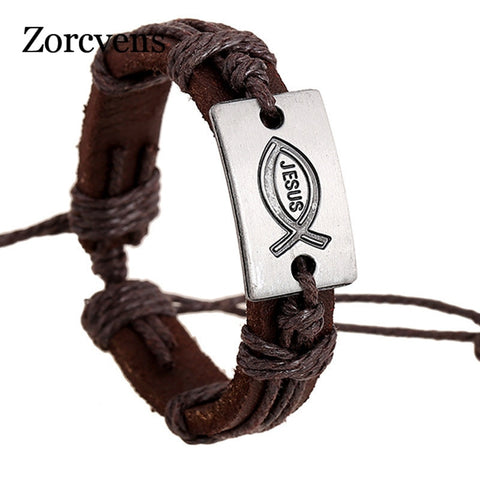 Jewelry Alloy Jesus Fish Leather Unisex Bracelet