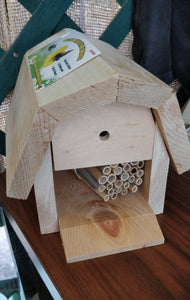 Mason and Leafcutter Bee House with Baby Bee Cocoons