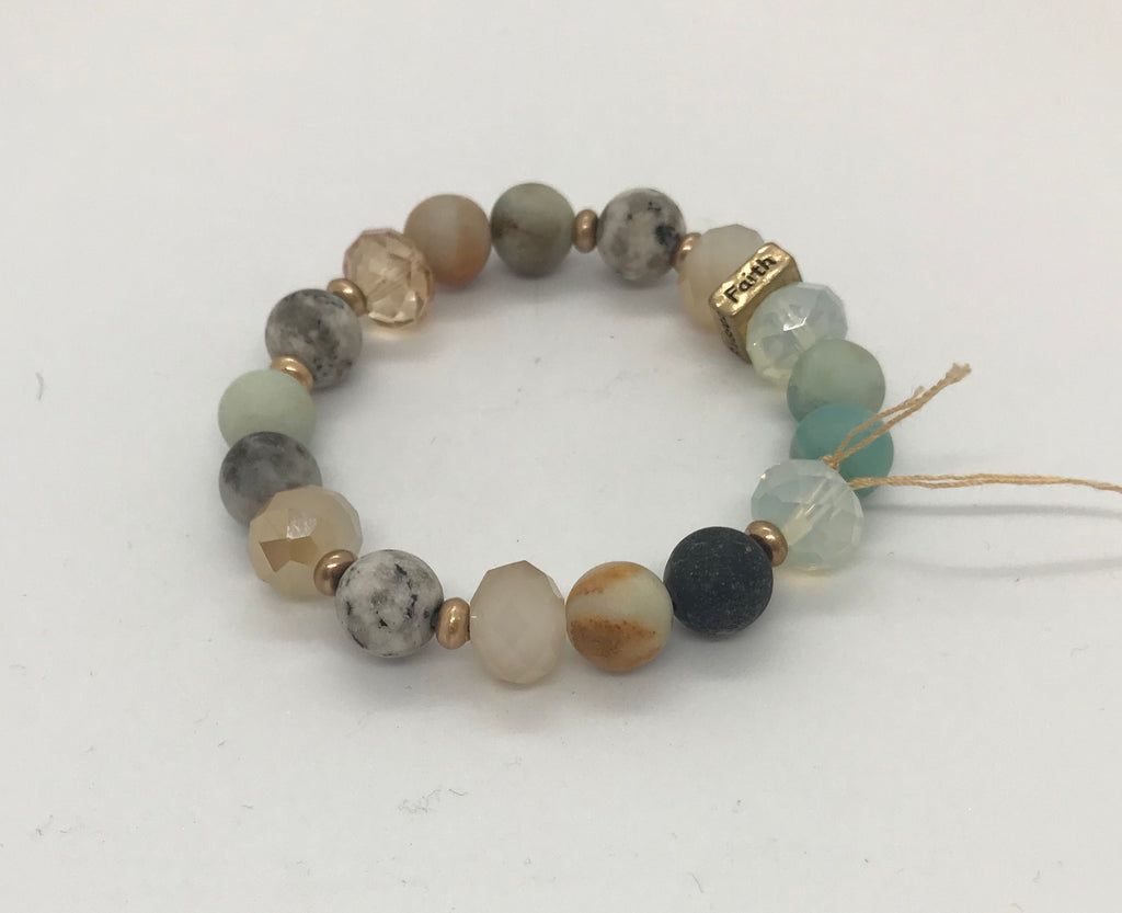 Teal Toned Natural Bead and Glass Bead Bracelet