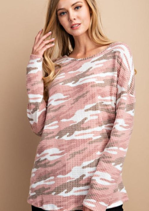 Power Pink Camo Waffle Top
