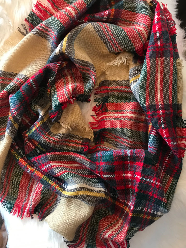 Blue, Red and Tan Plaid Infinity Scarf