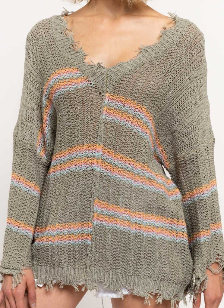 Lightweight boho sweater with Unbalanced stripe