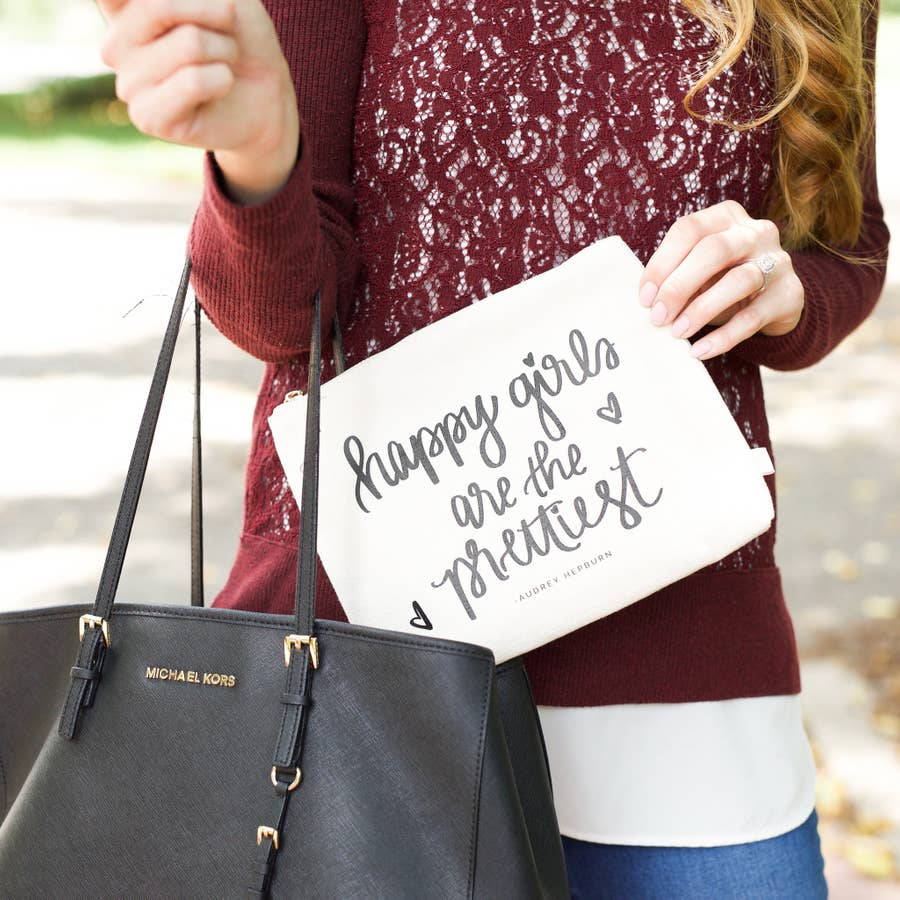 """Happy Girls Are The Prettiest"" Makeup Bag"