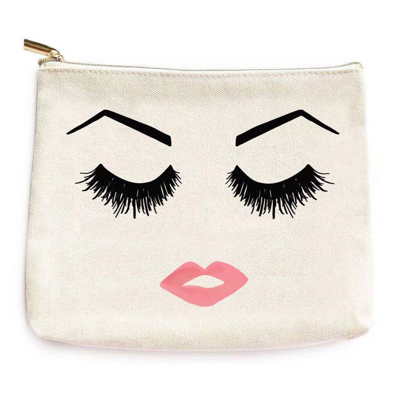 Eyelashes Brows + Lips Face Makeup Bag