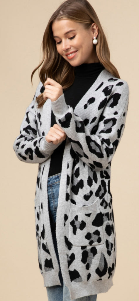 Love This Leopard Grey Print Cardigan