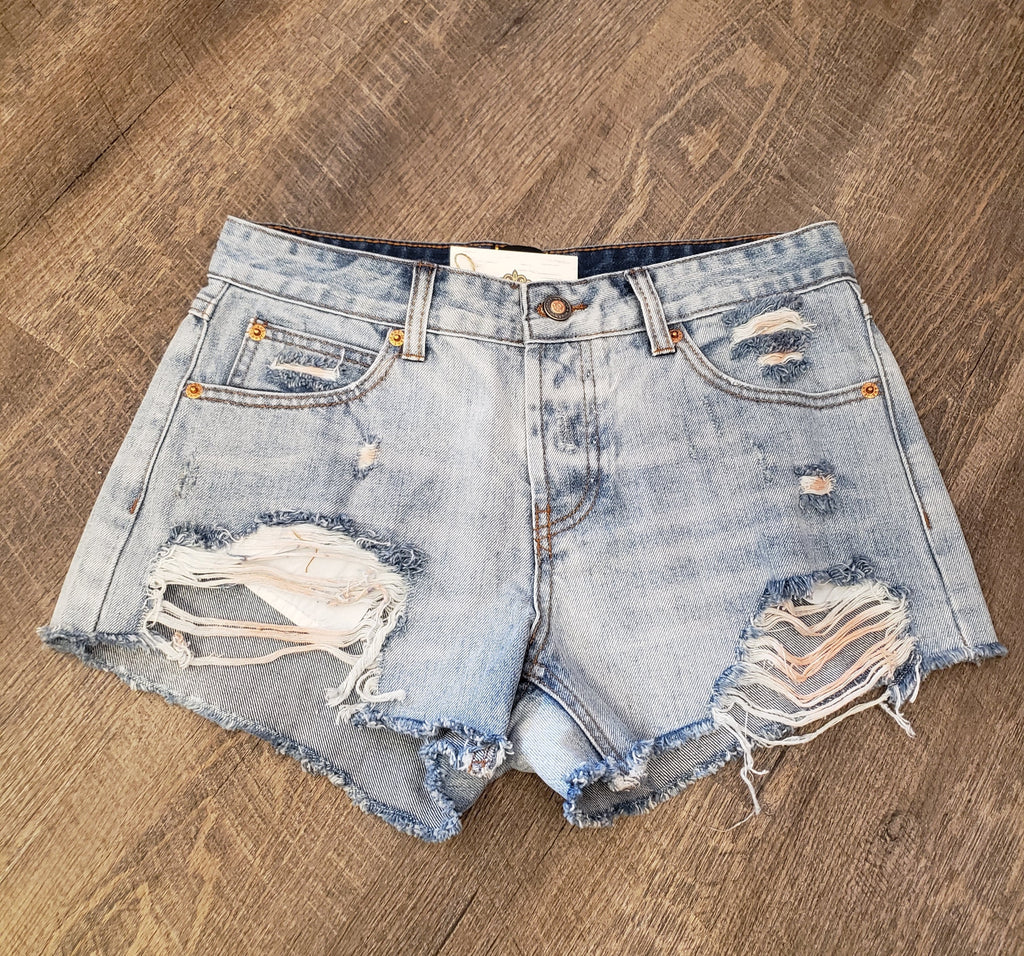 Denim Pink Distress Shorts