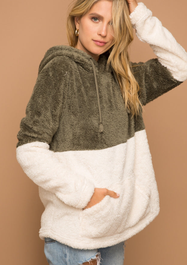 Fuzzy Olive and Cream Pullover