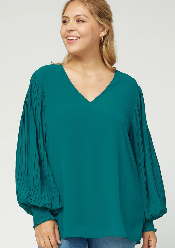 Pleated Blouse (Plus Size)
