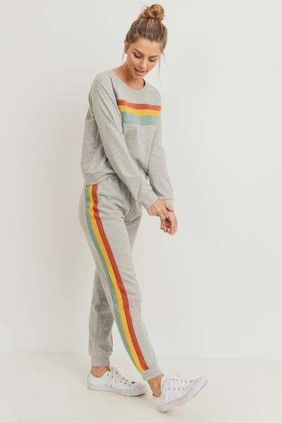 Heather Grey Striped Jogger