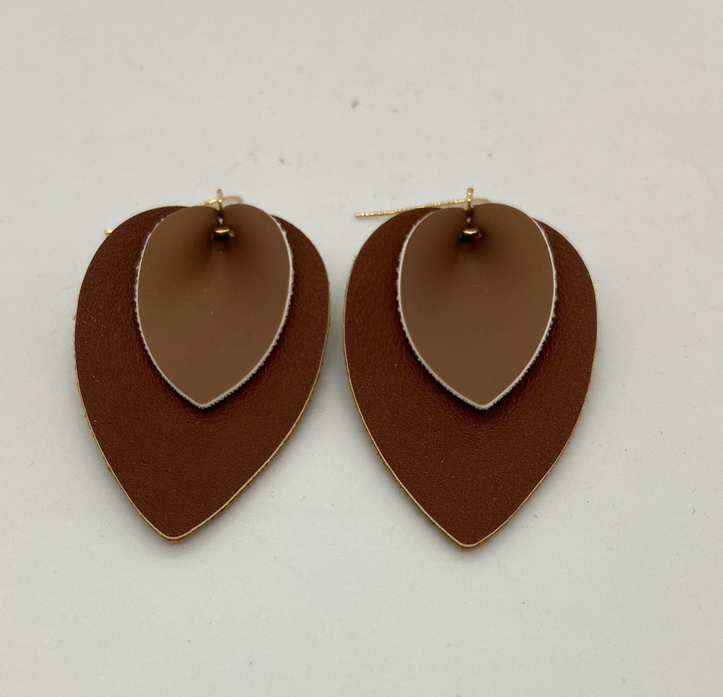 Brown and Gold Leather Teardrop Earrings